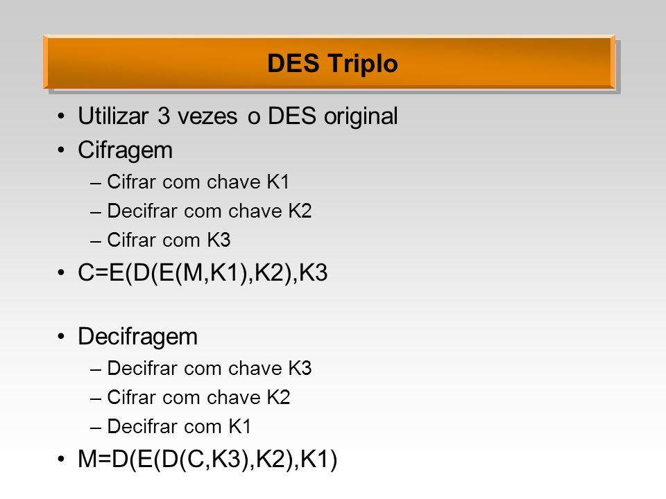 DES Triplo Utilizar 3 vezes o DES original Cifragem –Cifrar com chave K1 –Decifrar com chave K2 –Cifrar com K3 C=E(D(E(M,K1),K2),K3 Decifragem –Decifr