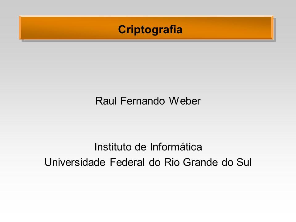 Criptografia Raul Fernando Weber Instituto de Informática Universidade Federal do Rio Grande do Sul
