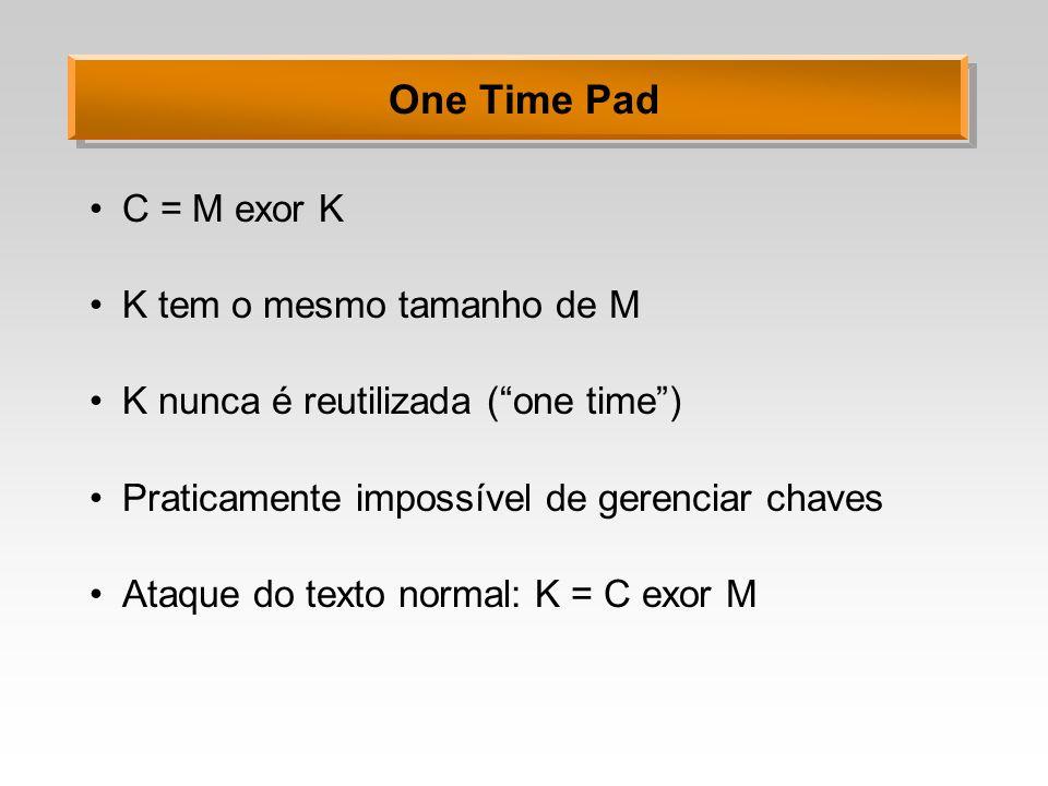 One Time Pad C = M exor K K tem o mesmo tamanho de M K nunca é reutilizada (one time) Praticamente impossível de gerenciar chaves Ataque do texto norm