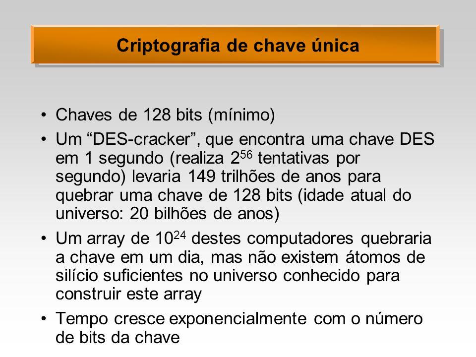 Criptografia de chave única Chaves de 128 bits (mínimo) Um DES-cracker, que encontra uma chave DES em 1 segundo (realiza 2 56 tentativas por segundo)