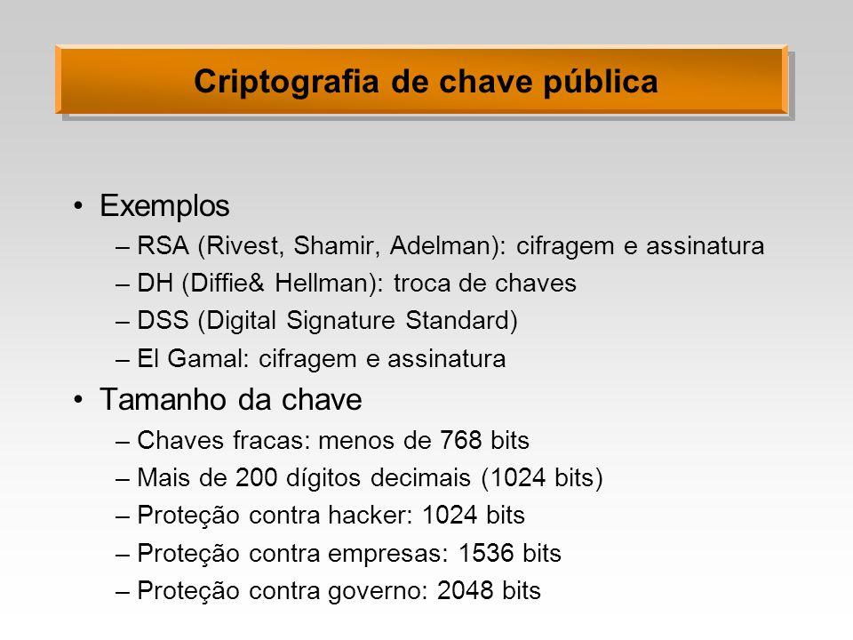 Criptografia de chave pública Exemplos –RSA (Rivest, Shamir, Adelman): cifragem e assinatura –DH (Diffie& Hellman): troca de chaves –DSS (Digital Sign
