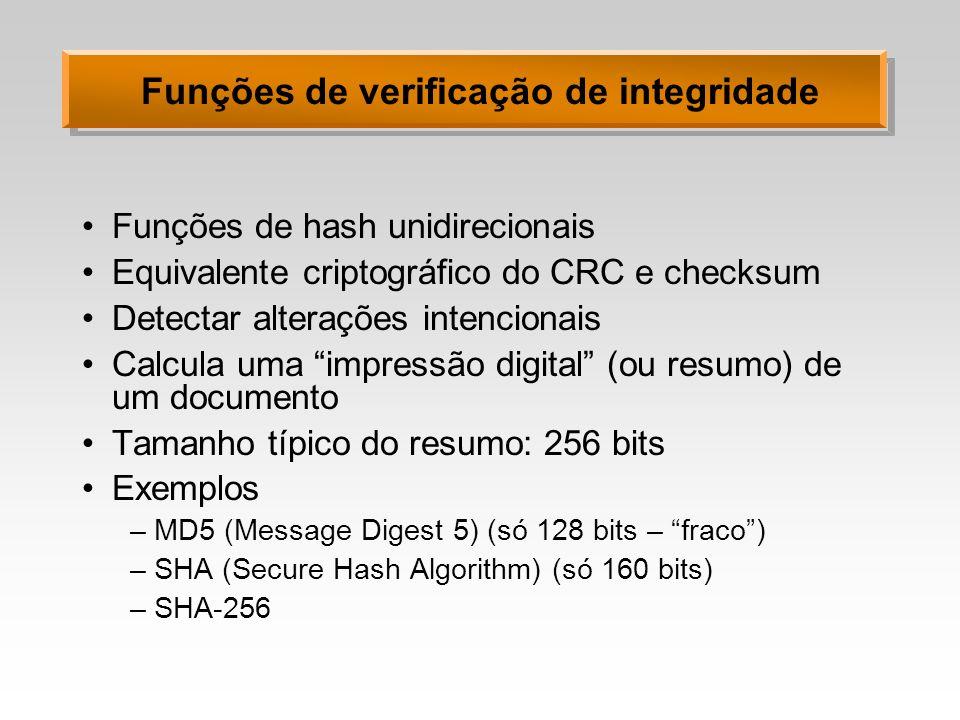 Funções de verificação de integridade Funções de hash unidirecionais Equivalente criptográfico do CRC e checksum Detectar alterações intencionais Calc