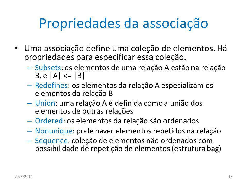 Propriedades da associação Uma associação define uma coleção de elementos.