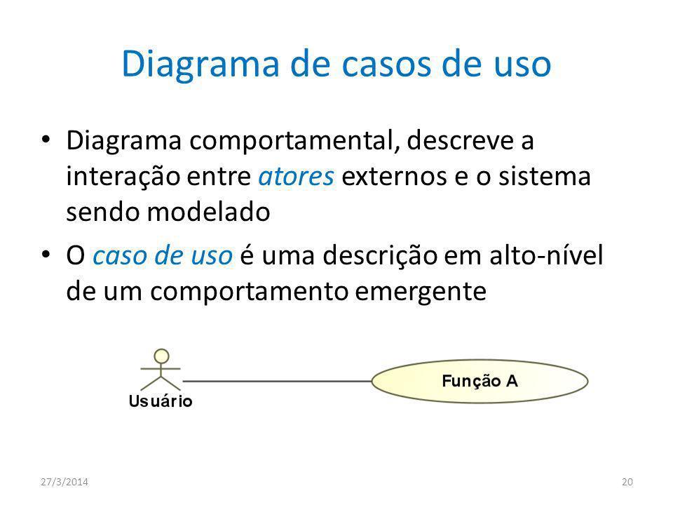 Diagrama de casos de uso Diagrama comportamental, descreve a interação entre atores externos e o sistema sendo modelado O caso de uso é uma descrição em alto-nível de um comportamento emergente 27/3/201420