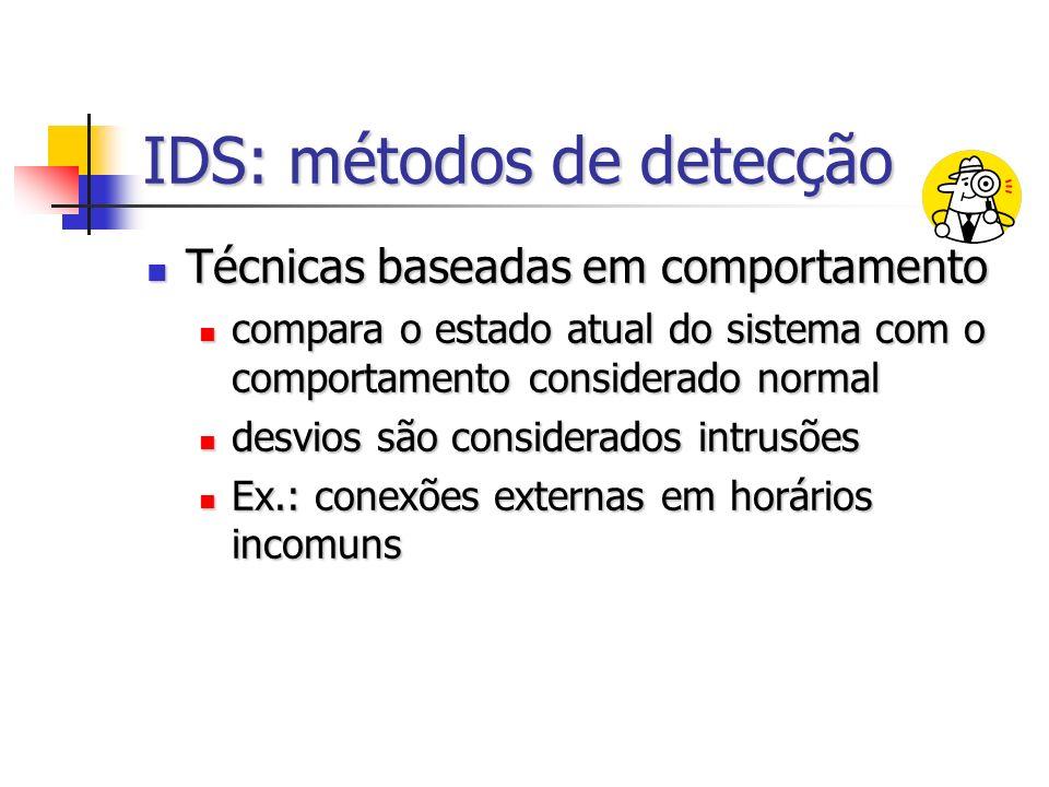 IDS: métodos de detecção Técnicas baseadas em comportamento Técnicas baseadas em comportamento compara o estado atual do sistema com o comportamento considerado normal compara o estado atual do sistema com o comportamento considerado normal desvios são considerados intrusões desvios são considerados intrusões Ex.: conexões externas em horários incomuns Ex.: conexões externas em horários incomuns