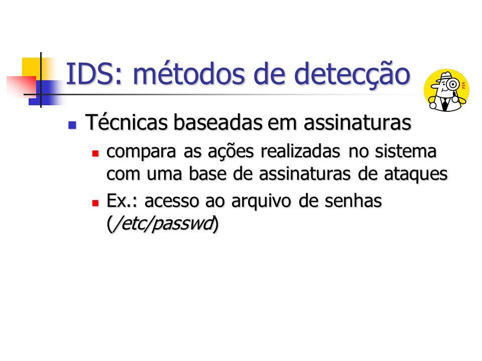 IDS: métodos de detecção Técnicas baseadas em assinaturas Técnicas baseadas em assinaturas compara as ações realizadas no sistema com uma base de assinaturas de ataques compara as ações realizadas no sistema com uma base de assinaturas de ataques Ex.: acesso ao arquivo de senhas (/etc/passwd) Ex.: acesso ao arquivo de senhas (/etc/passwd)
