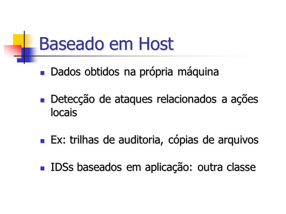 Baseado em Host Dados obtidos na própria máquina Dados obtidos na própria máquina Detecção de ataques relacionados a ações locais Detecção de ataques