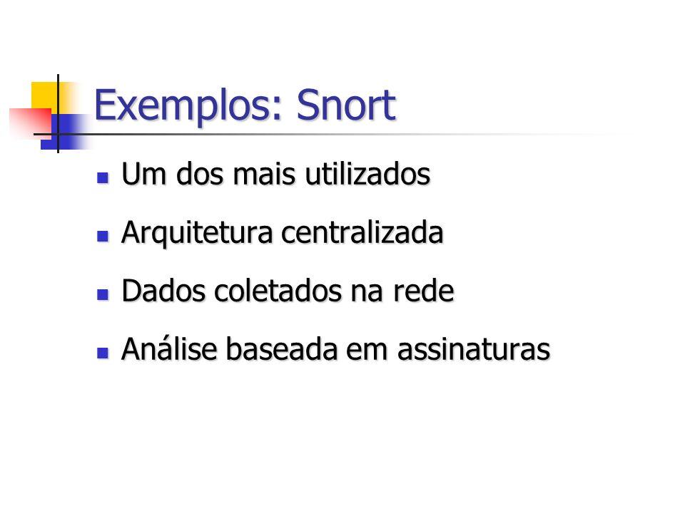 Exemplos: Snort Um dos mais utilizados Um dos mais utilizados Arquitetura centralizada Arquitetura centralizada Dados coletados na rede Dados coletados na rede Análise baseada em assinaturas Análise baseada em assinaturas