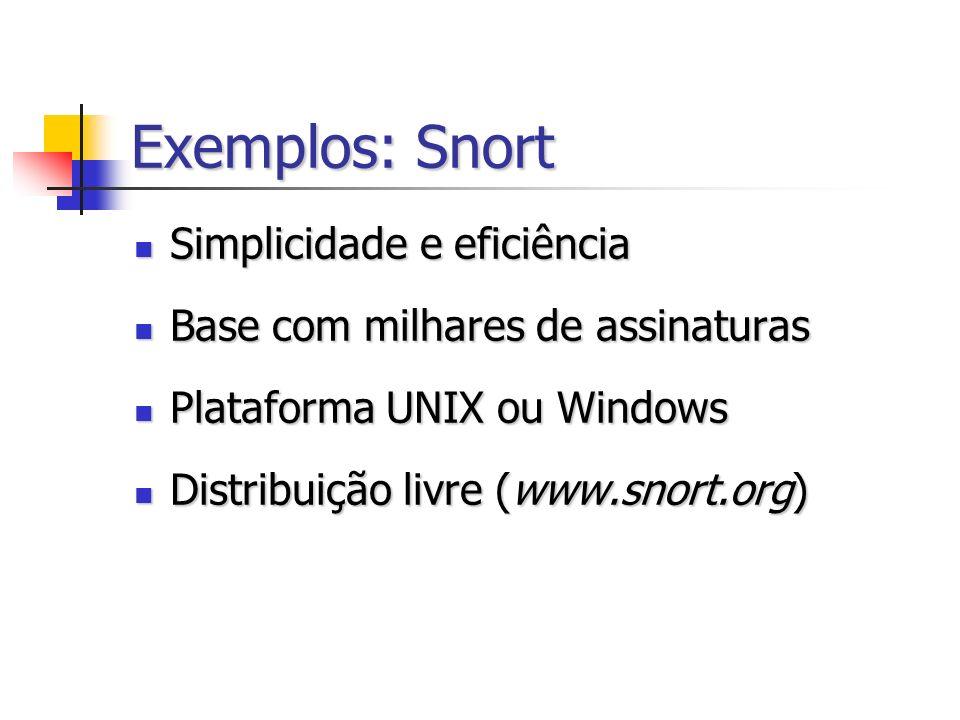 Exemplos: Snort Simplicidade e eficiência Simplicidade e eficiência Base com milhares de assinaturas Base com milhares de assinaturas Plataforma UNIX ou Windows Plataforma UNIX ou Windows Distribuição livre (www.snort.org) Distribuição livre (www.snort.org)