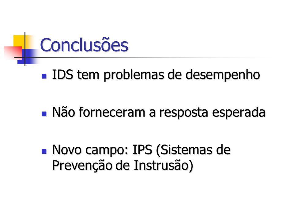 Conclusões IDS tem problemas de desempenho IDS tem problemas de desempenho Não forneceram a resposta esperada Não forneceram a resposta esperada Novo campo: IPS (Sistemas de Prevenção de Instrusão) Novo campo: IPS (Sistemas de Prevenção de Instrusão)