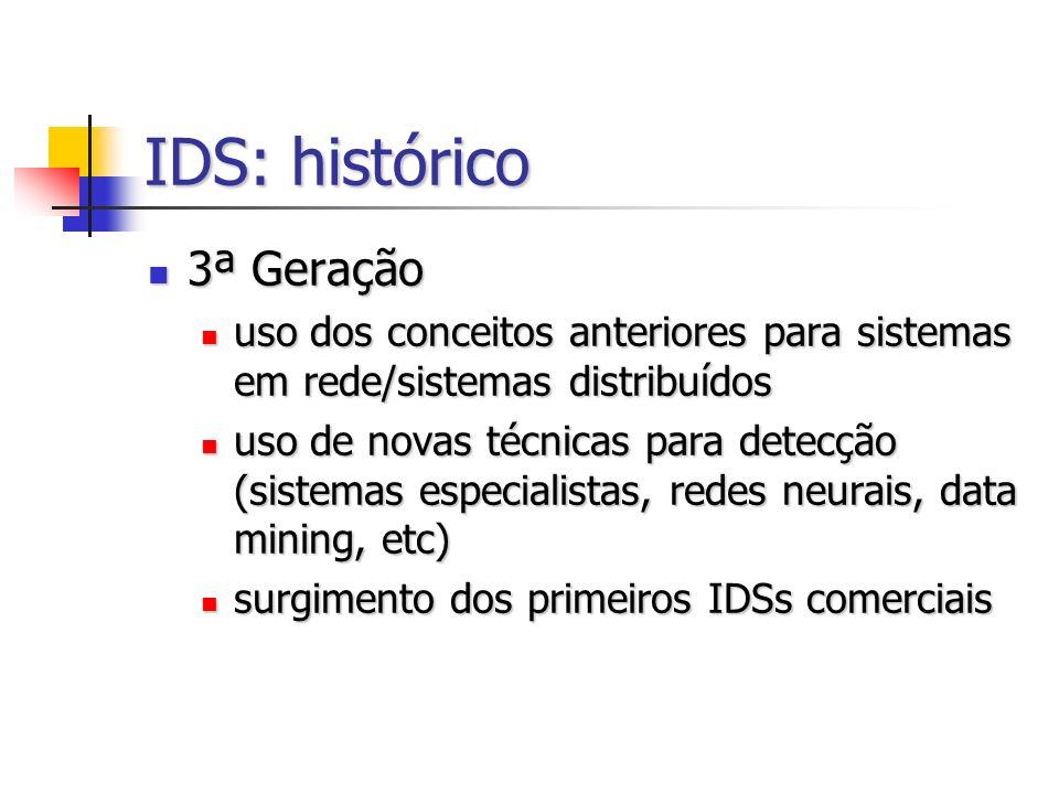 IDS: histórico 3ª Geração 3ª Geração uso dos conceitos anteriores para sistemas em rede/sistemas distribuídos uso dos conceitos anteriores para sistem