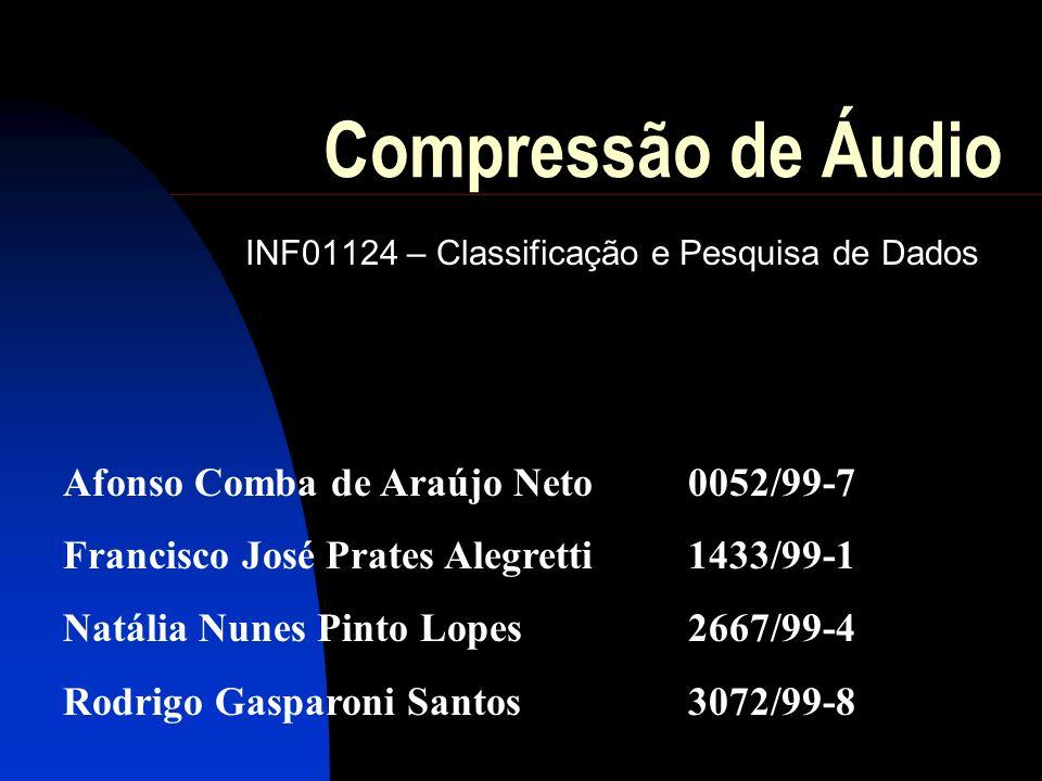 Compressão de Áudio INF01124 – Classificação e Pesquisa de Dados Afonso Comba de Araújo Neto0052/99-7 Francisco José Prates Alegretti1433/99-1 Natália Nunes Pinto Lopes2667/99-4 Rodrigo Gasparoni Santos3072/99-8