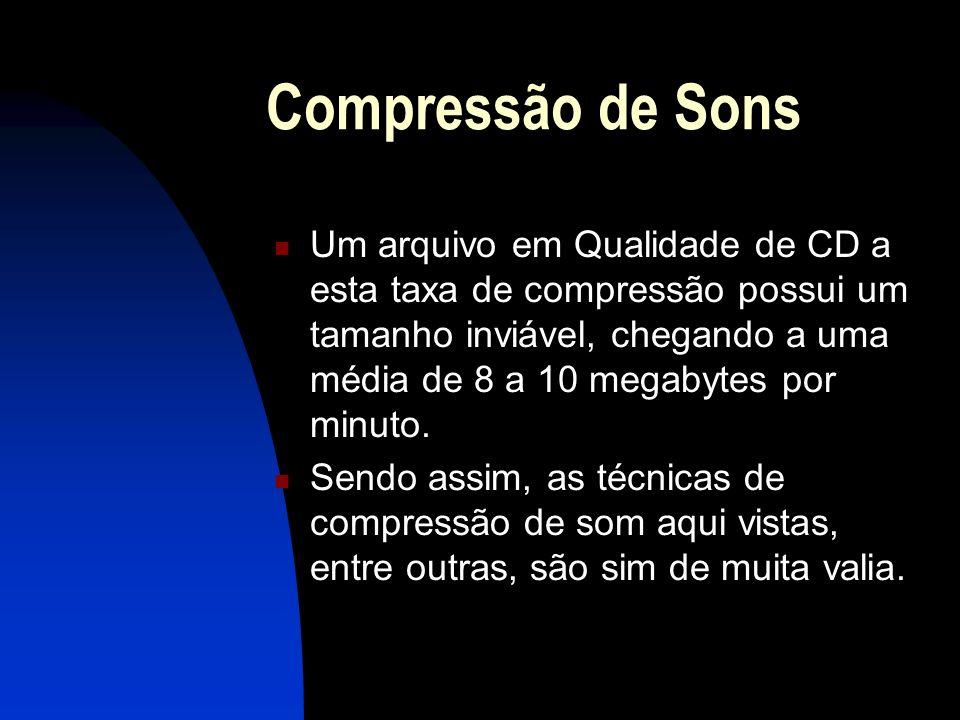 Compressão de Sons Um arquivo em Qualidade de CD a esta taxa de compressão possui um tamanho inviável, chegando a uma média de 8 a 10 megabytes por minuto.