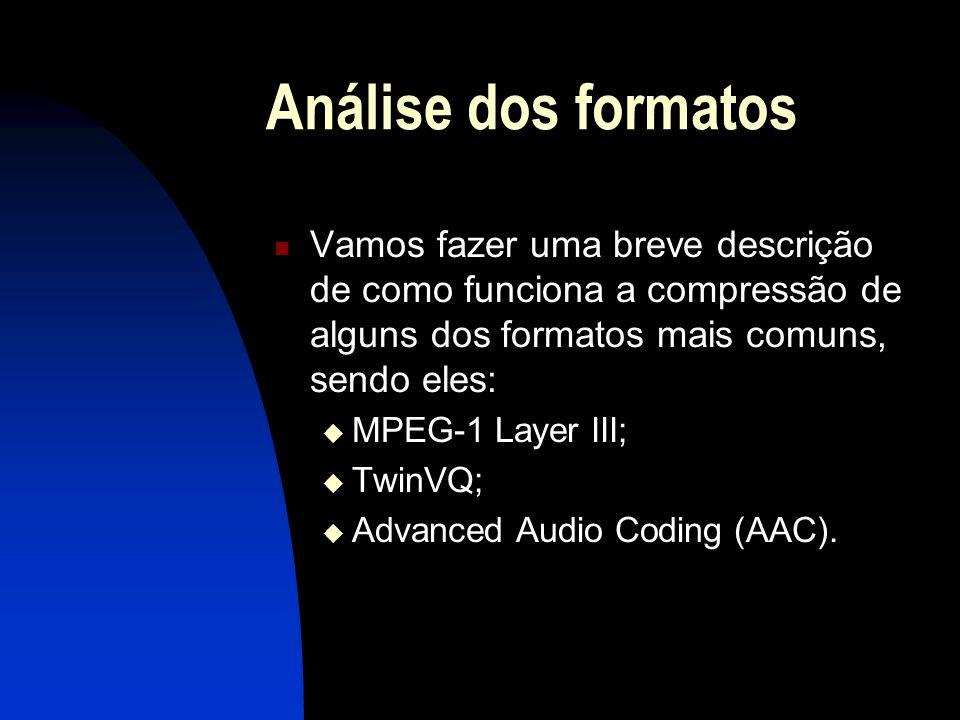 Análise dos formatos Vamos fazer uma breve descrição de como funciona a compressão de alguns dos formatos mais comuns, sendo eles: MPEG-1 Layer III; TwinVQ; Advanced Audio Coding (AAC).