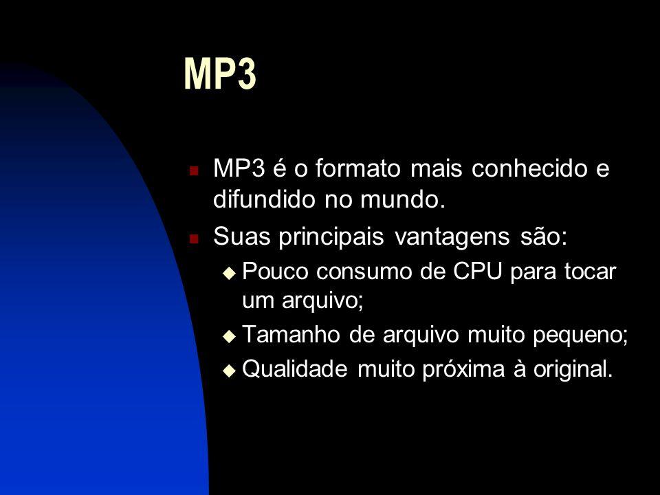 MP3 MP3 é o formato mais conhecido e difundido no mundo.
