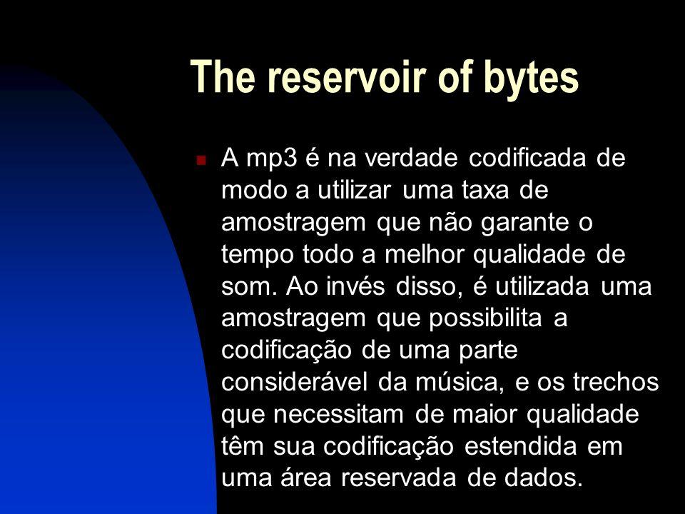 The reservoir of bytes A mp3 é na verdade codificada de modo a utilizar uma taxa de amostragem que não garante o tempo todo a melhor qualidade de som.