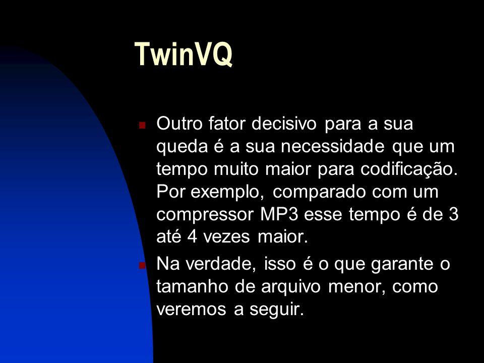 TwinVQ Outro fator decisivo para a sua queda é a sua necessidade que um tempo muito maior para codificação.