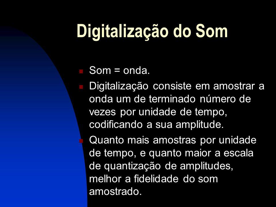Digitalização do Som Uma boa amostragem de som é definida como o dobro do período máximo de variação de sua amplitude.