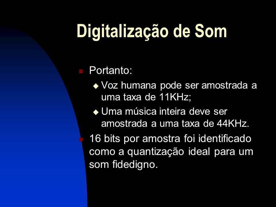 Digitalização de Som Portanto: Voz humana pode ser amostrada a uma taxa de 11KHz; Uma música inteira deve ser amostrada a uma taxa de 44KHz.