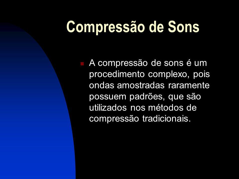 Compressão de Sons A compressão de sons é um procedimento complexo, pois ondas amostradas raramente possuem padrões, que são utilizados nos métodos de compressão tradicionais.