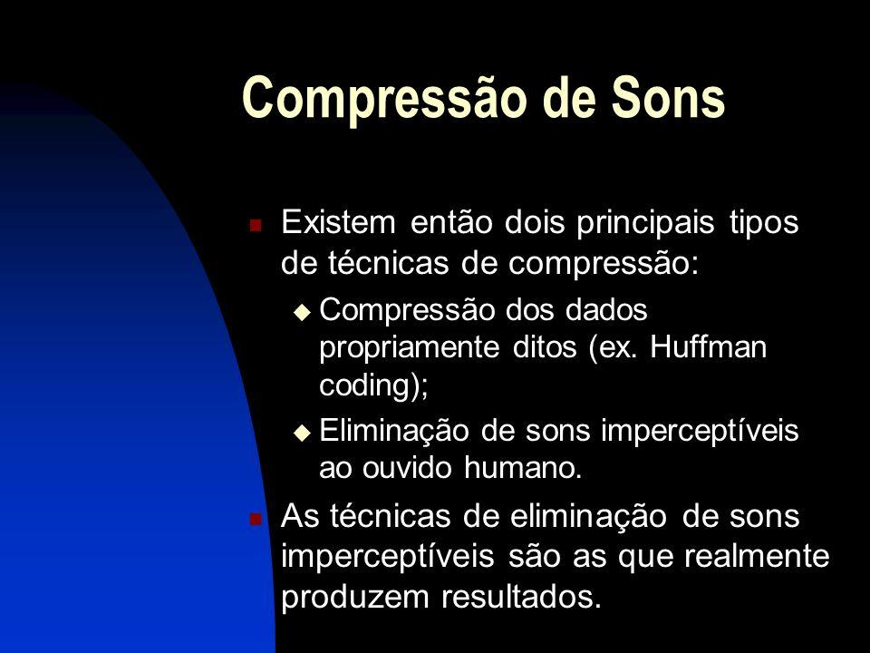 Compressão de Sons Existem então dois principais tipos de técnicas de compressão: Compressão dos dados propriamente ditos (ex.