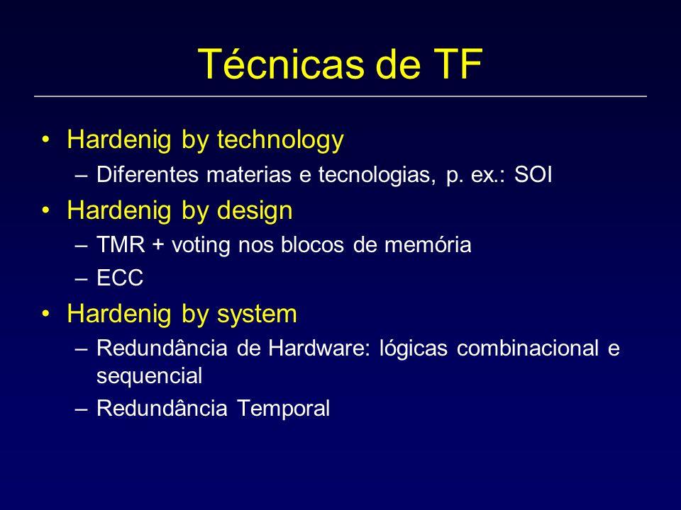 Técnicas de TF Hardenig by technology –Diferentes materias e tecnologias, p. ex.: SOI Hardenig by design –TMR + voting nos blocos de memória –ECC Hard