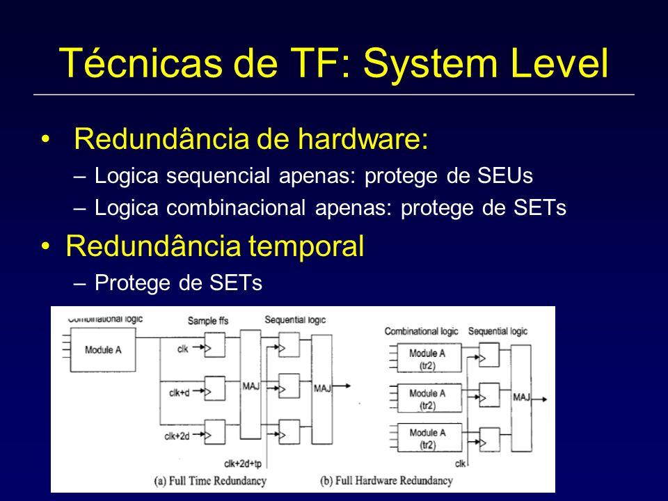 Técnicas de TF: System Level Redundância de hardware: –Logica sequencial apenas: protege de SEUs –Logica combinacional apenas: protege de SETs Redundância temporal –Protege de SETs