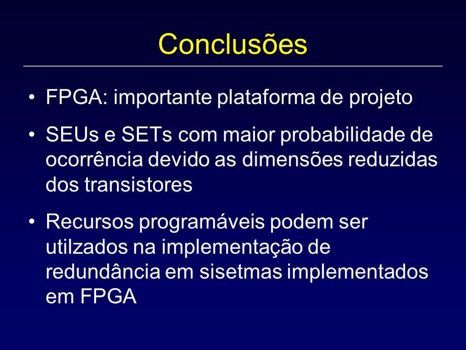 Conclusões FPGA: importante plataforma de projeto SEUs e SETs com maior probabilidade de ocorrência devido as dimensões reduzidas dos transistores Recursos programáveis podem ser utilzados na implementação de redundância em sisetmas implementados em FPGA