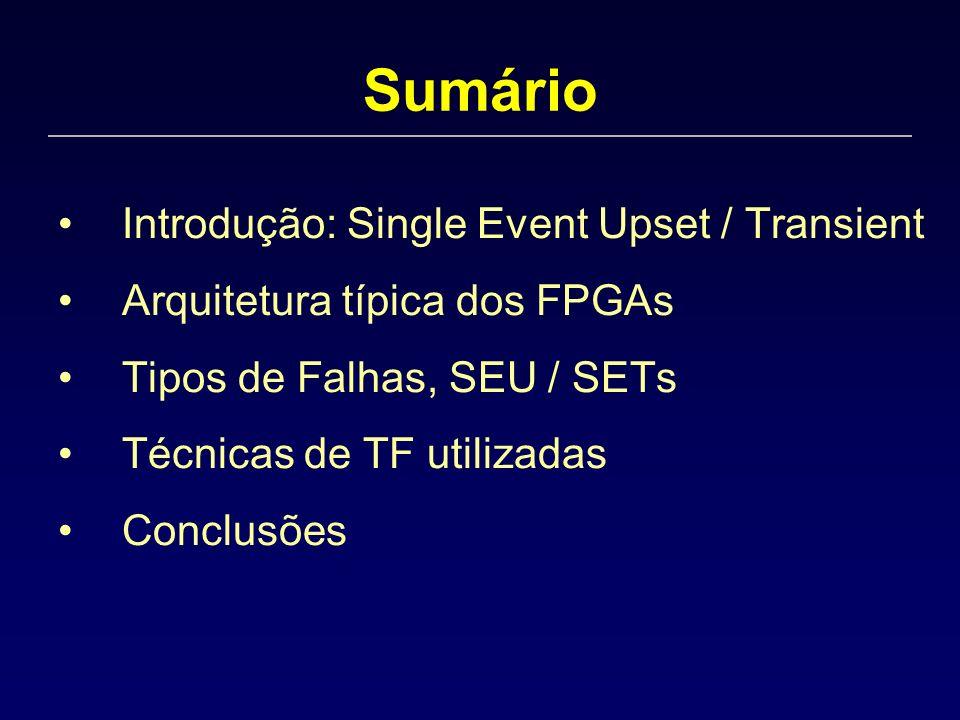 Sumário Introdução: Single Event Upset / Transient Arquitetura típica dos FPGAs Tipos de Falhas, SEU / SETs Técnicas de TF utilizadas Conclusões