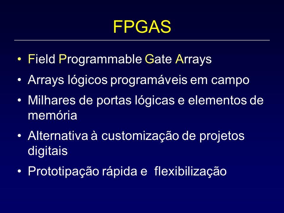 FPGAS Field Programmable Gate Arrays Arrays lógicos programáveis em campo Milhares de portas lógicas e elementos de memória Alternativa à customização de projetos digitais Prototipação rápida e flexibilização