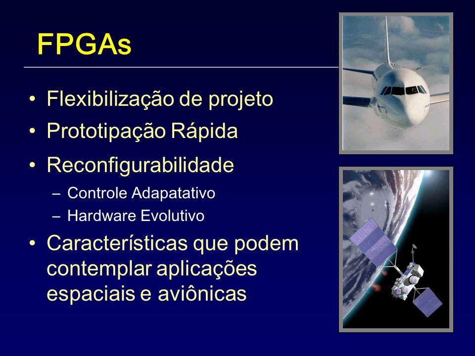 FPGAs Flexibilização de projeto Prototipação Rápida Reconfigurabilidade –Controle Adapatativo –Hardware Evolutivo Características que podem contemplar aplicações espaciais e aviônicas