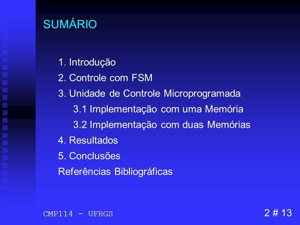 SUMÁRIO 1. Introdução 2. Controle com FSM 3. Unidade de Controle Microprogramada 3.1 Implementação com uma Memória 3.2 Implementação com duas Memórias