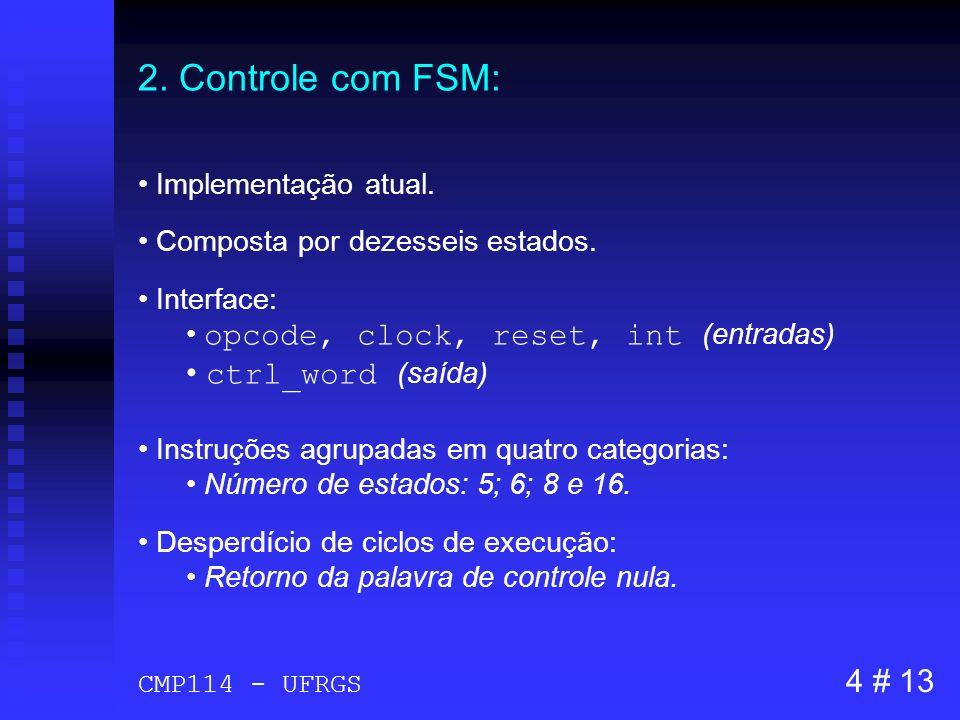 2. Controle com FSM: Implementação atual. Composta por dezesseis estados. Interface: opcode, clock, reset, int (entradas) ctrl_word (saída) Instruções