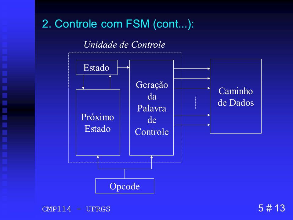 2. Controle com FSM (cont...): Opcode Caminho de Dados Estado Geração da Palavra de Controle Próximo Estado Unidade de Controle 5 # 13 CMP114 - UFRGS