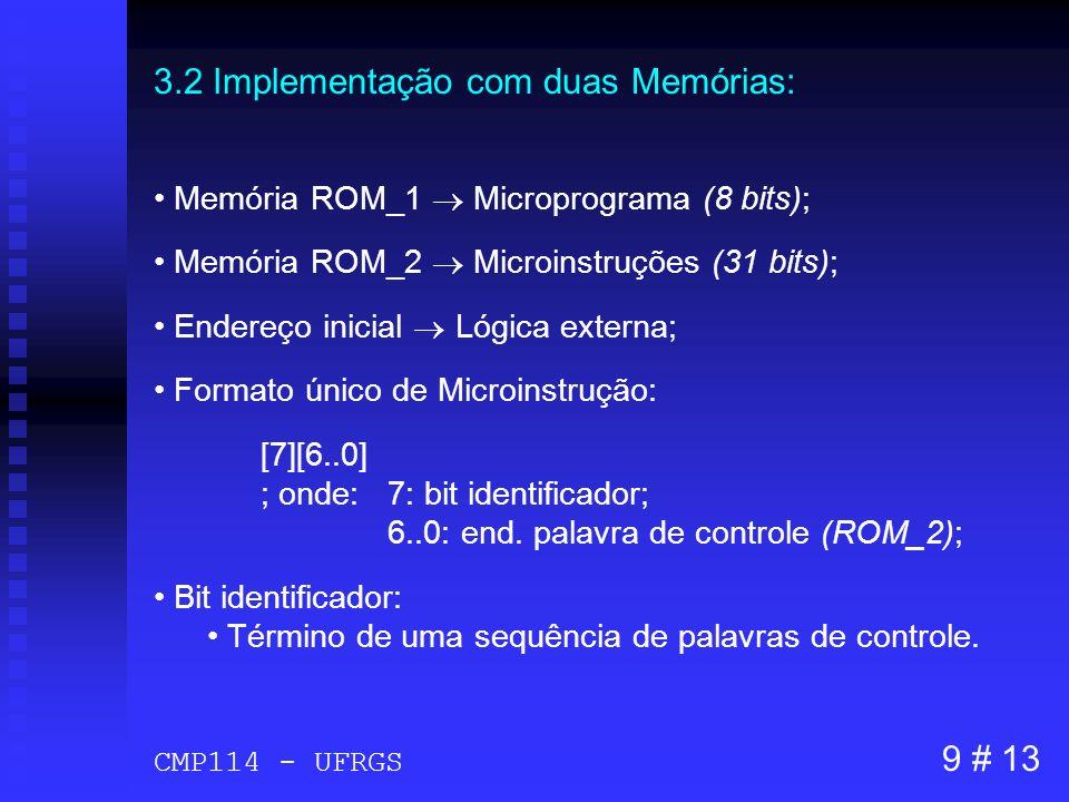 3.2 Implementação com duas Memórias: Memória ROM_1 Microprograma (8 bits); Memória ROM_2 Microinstruções (31 bits); Endereço inicial Lógica externa; F