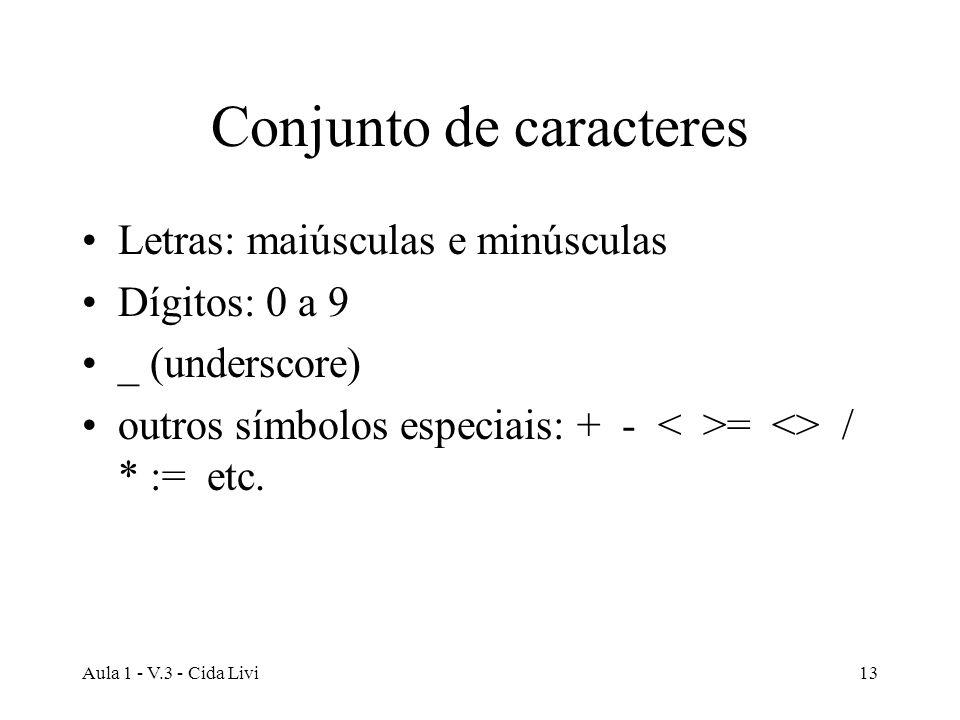 Aula 1 - V.3 - Cida Livi13 Conjunto de caracteres Letras: maiúsculas e minúsculas Dígitos: 0 a 9 _ (underscore) outros símbolos especiais: + - = <> /