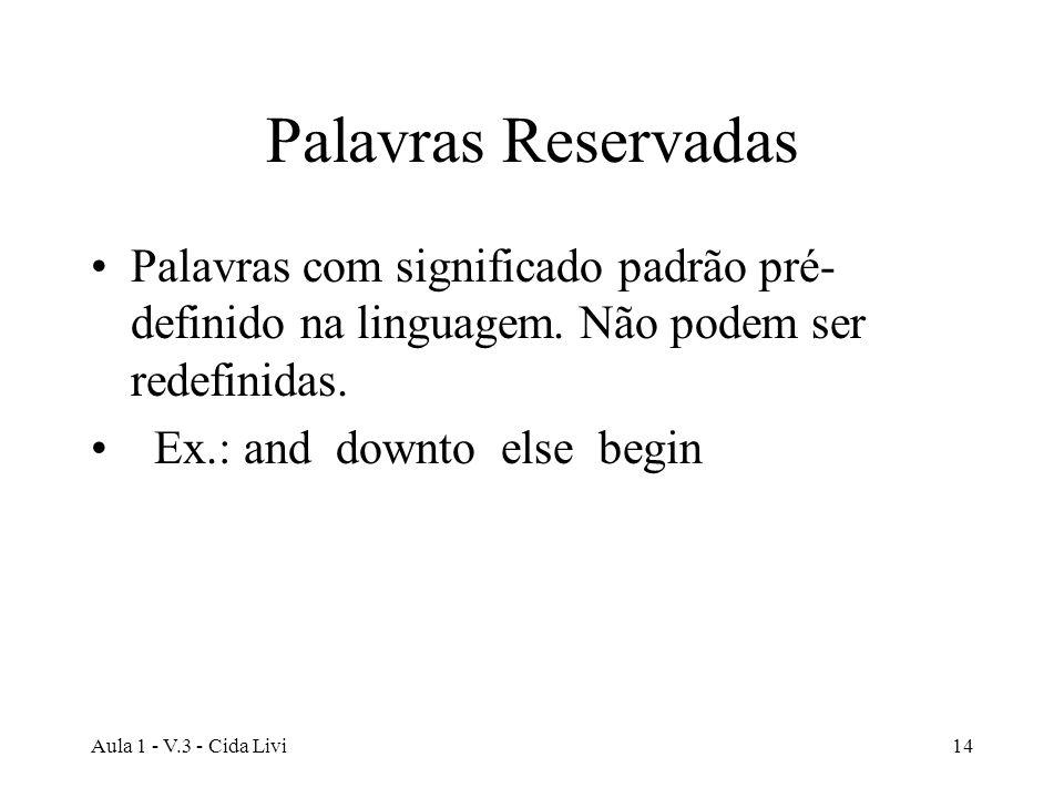 Aula 1 - V.3 - Cida Livi14 Palavras Reservadas Palavras com significado padrão pré- definido na linguagem. Não podem ser redefinidas. Ex.: and downto