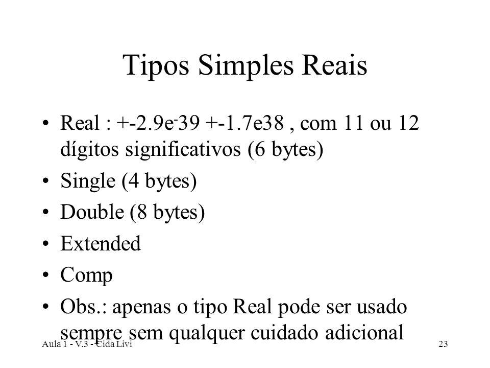 Aula 1 - V.3 - Cida Livi23 Tipos Simples Reais Real : +-2.9e - 39 +-1.7e38, com 11 ou 12 dígitos significativos (6 bytes) Single (4 bytes) Double (8 b