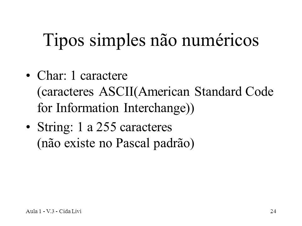 Aula 1 - V.3 - Cida Livi24 Tipos simples não numéricos Char: 1 caractere (caracteres ASCII(American Standard Code for Information Interchange)) String