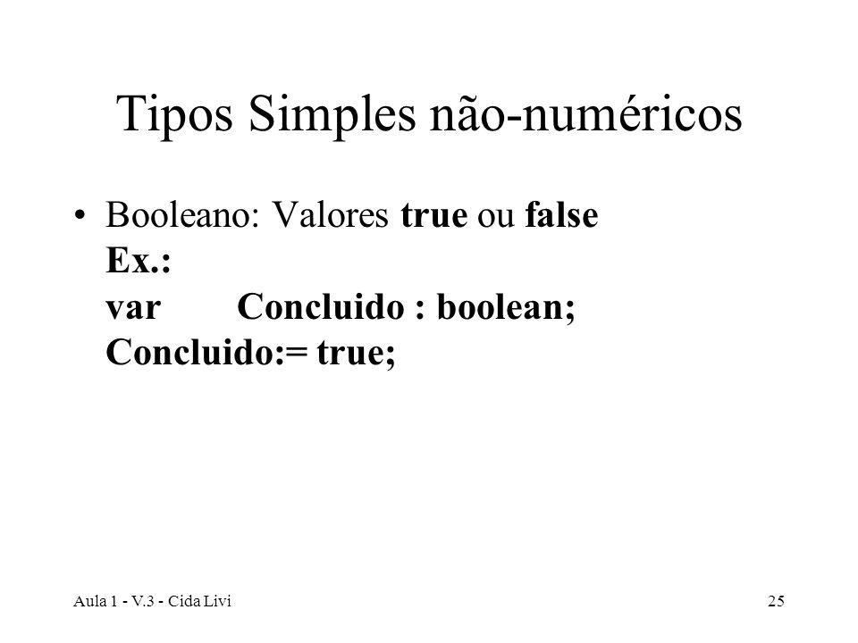 Aula 1 - V.3 - Cida Livi25 Tipos Simples não-numéricos Booleano: Valores true ou false Ex.: var Concluido : boolean; Concluido:= true;