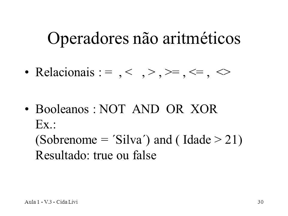 Aula 1 - V.3 - Cida Livi30 Operadores não aritméticos Relacionais : =,, >=, Booleanos : NOT AND OR XOR Ex.: (Sobrenome = ´Silva´) and ( Idade > 21) Re