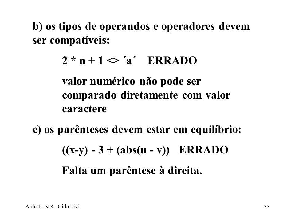 Aula 1 - V.3 - Cida Livi33 b) os tipos de operandos e operadores devem ser compatíveis: 2 * n + 1 <> ´a´ ERRADO valor numérico não pode ser comparado
