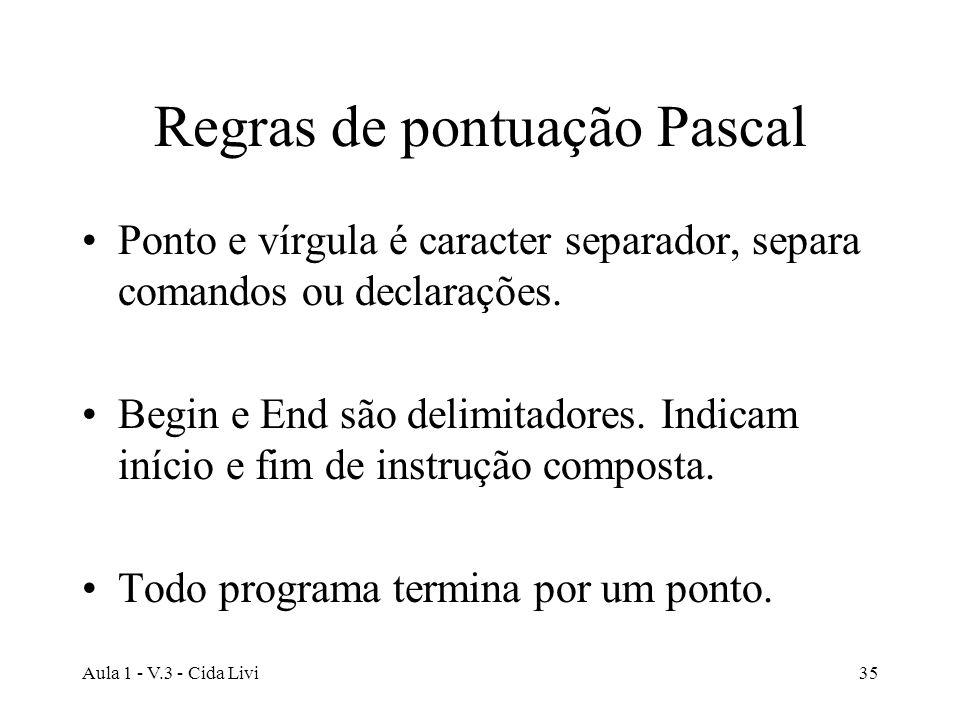 Aula 1 - V.3 - Cida Livi35 Regras de pontuação Pascal Ponto e vírgula é caracter separador, separa comandos ou declarações. Begin e End são delimitado
