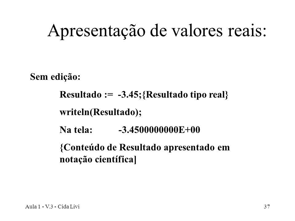 Aula 1 - V.3 - Cida Livi37 Apresentação de valores reais: Sem edição: Resultado := -3.45;{Resultado tipo real} writeln(Resultado); Na tela: -3.4500000