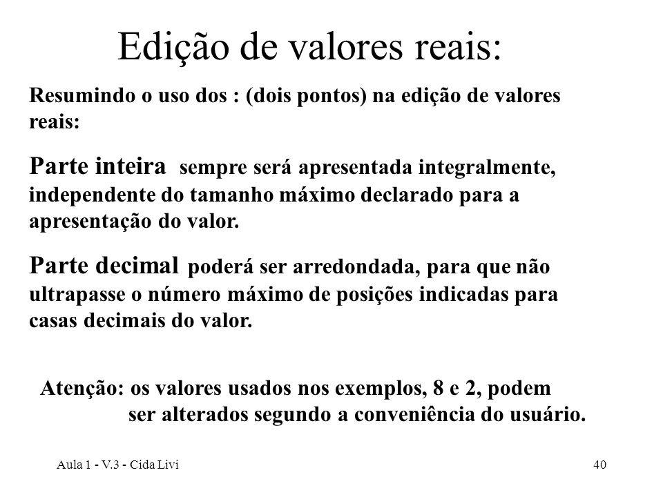 Aula 1 - V.3 - Cida Livi40 Edição de valores reais: Resumindo o uso dos : (dois pontos) na edição de valores reais: Parte inteira sempre será apresent