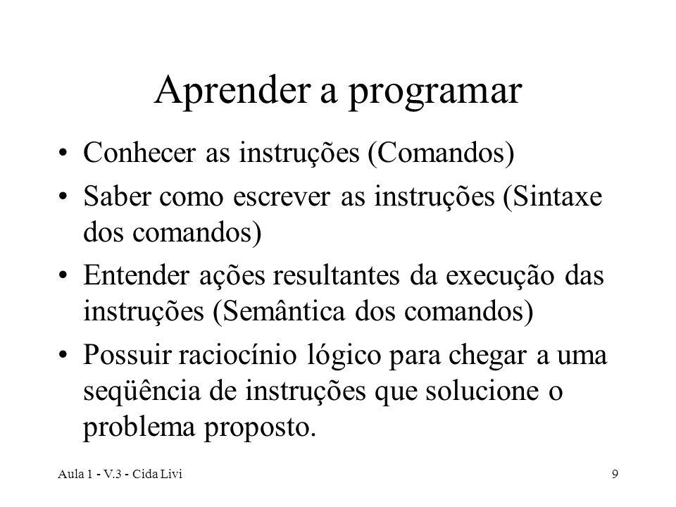Aula 1 - V.3 - Cida Livi9 Aprender a programar Conhecer as instruções (Comandos) Saber como escrever as instruções (Sintaxe dos comandos) Entender açõ