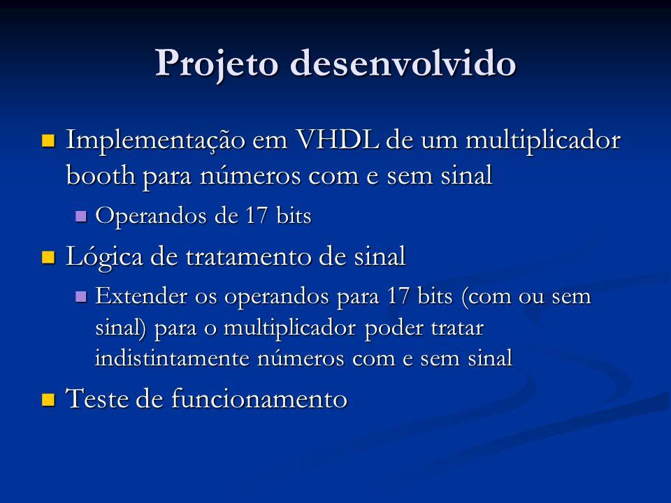 Projeto desenvolvido Implementação em VHDL de um multiplicador booth para números com e sem sinal Implementação em VHDL de um multiplicador booth para
