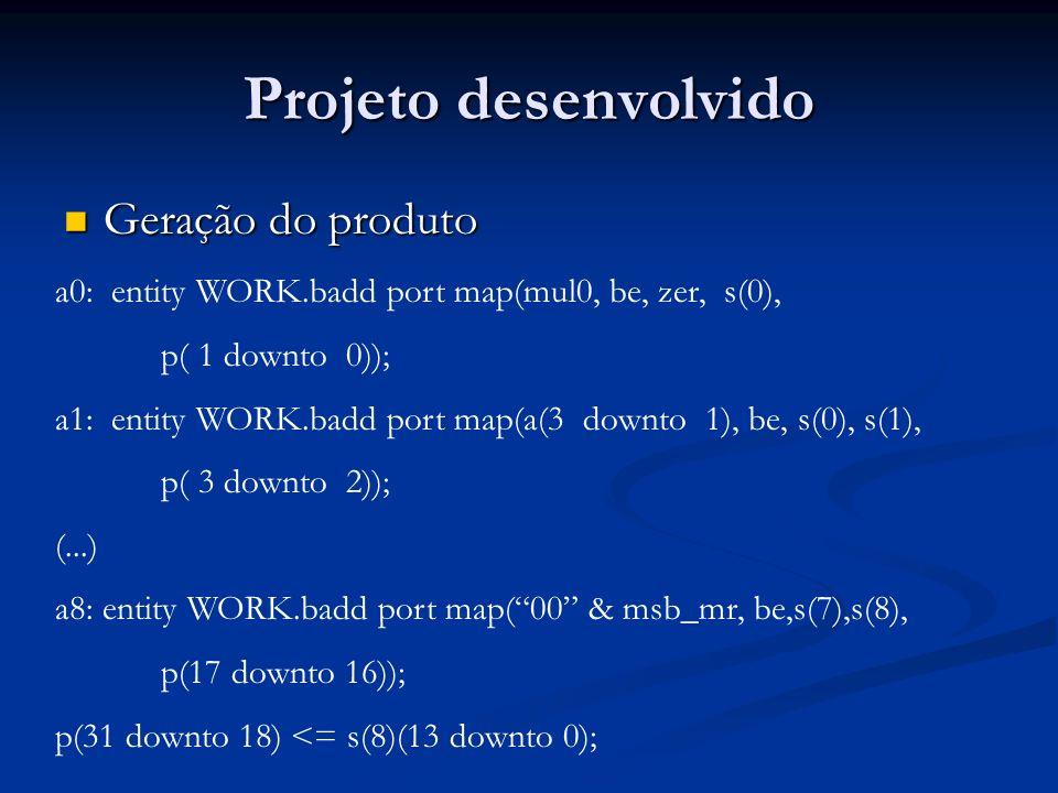 Projeto desenvolvido Geração do produto Geração do produto a0: entity WORK.badd port map(mul0, be, zer, s(0), p( 1 downto 0)); a1: entity WORK.badd po