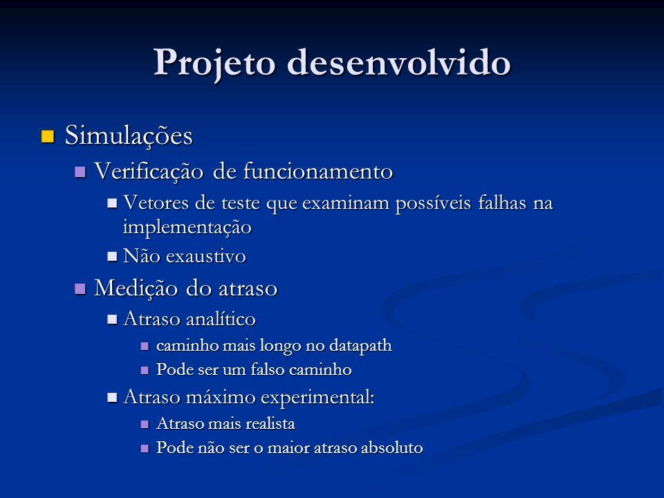 Projeto desenvolvido Simulações Simulações Verificação de funcionamento Verificação de funcionamento Vetores de teste que examinam possíveis falhas na