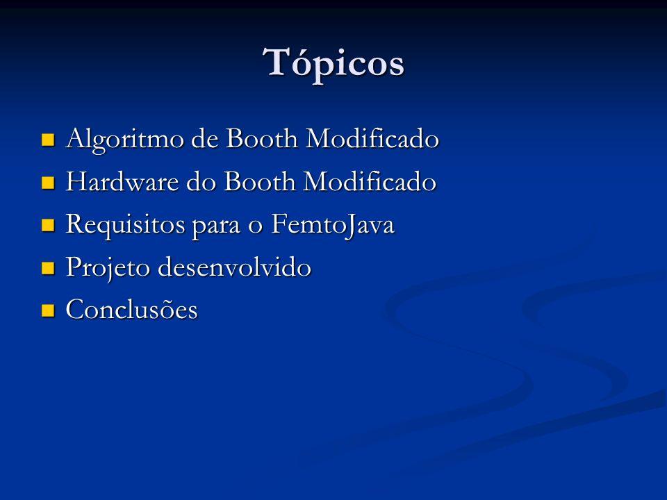 Tópicos Algoritmo de Booth Modificado Algoritmo de Booth Modificado Hardware do Booth Modificado Hardware do Booth Modificado Requisitos para o FemtoJ